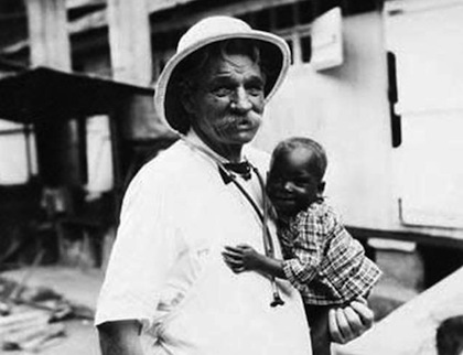 Albert Schweitzer at the clinic he founded in Lambaréné, Gabon.
