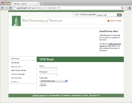 Replica of UVM Webmail login page