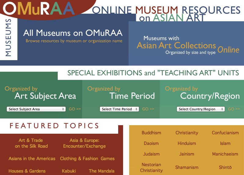 The online museum resource on Asian art at Columbia University provides teachers with access to online Asia art collections from around the world