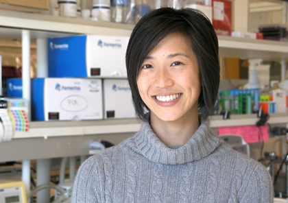 Pew Scholar and Assistant Professor of Microbiology & Molecular Genetics Aimee Shen, Ph.D. (Photo by Ed Neuert)