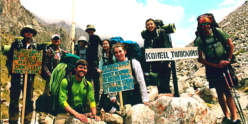 Sonya Buglion and group of hikers in Kyrgyzstan to work