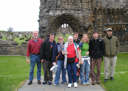 Sue Bean (center) travels to Scotland with faculty and students.