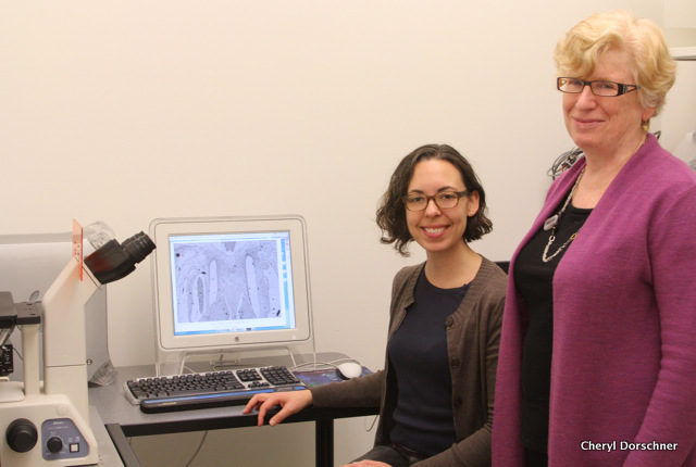 Two women with electron microscope.