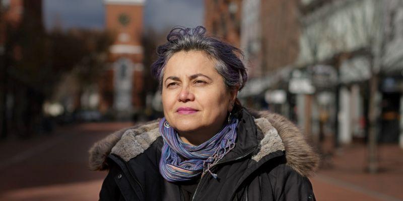 Tina Escaja on Church Street in Burlington