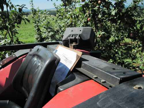 Tractor with Clipboard in the Orchard
