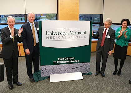 Tom Sullivan, president of UVM; Dr. John Brumsted, president and CEO of The University of Vermont Health Network & The University of Vermont Medical Center; Frederick Morin, M.D., dean of the University of Vermont College of Medicine; and Patricia Prelock, Ph.D., dean of the University of Vermont College of Nursing and Health Sciences