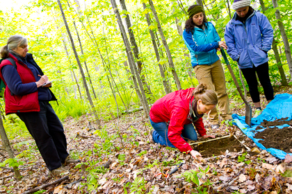 students in woods studying forest floor