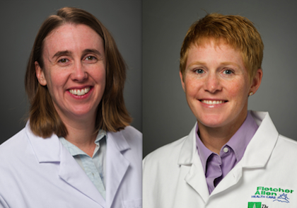 Jill Warrington, M.D., Assistant Professor of Pathology (left), and Elise Everett, M.D., Assistant Professor of Obstetrics, Gynecology and Reproductive Sciences (right)