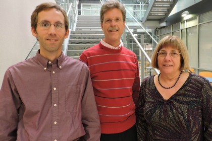 From left: UVM Cancer Center researchers Brian Sprague, PhD, Assistant Professor of Surgery, Donald Weaver, MD, Professor of Pathology and Laboratory Medicine, and Janet Stein, PhD, Professor of Biochemistry. (Photo: COM Design & Photography)