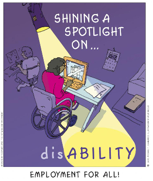 Poster shows a person using a wheelchair, working on a computer