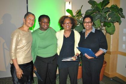 Beverly Colston, ALANA Student Center Director; Margaret Tandoh, M.D.; Elizabeth Bonney, M.D.; Tiffany Delaney, MA.Ed