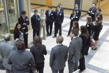 Nazia Kabani, Class of 2014, gives a tour to a group of 20 prospective students on their interview day.