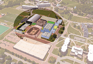 Rendering of arena from above with the roof off.