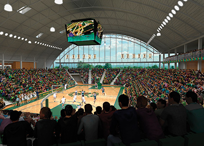 Rendering of the interior of the new basketball courts with a window facing the Green Mountains.