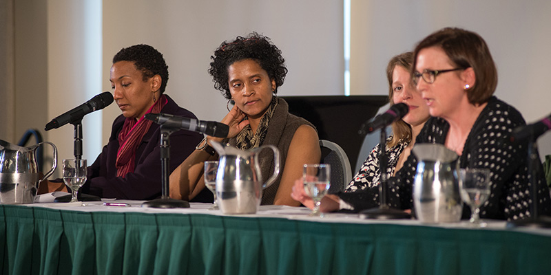 Sarah Turner, senior English lecturer; Maeve Eberhardt, assistant professor of linguistics; Emily Bernard, professor of English and interim director of UVM's Critical Race and Ethnic Studies Program; and moderator Lacretia Johnson Flash, Assistant Dean for Conduct, Policy and Climate