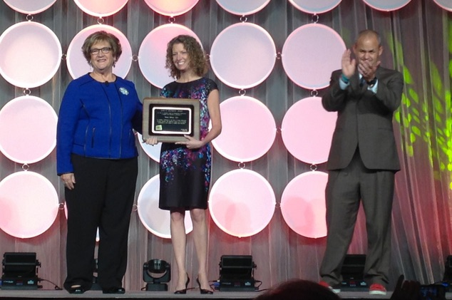 Tarrant Institute director and College of Education and Social Services associate dean Penny Bishop receives the John H. Lounsbury award, AMLE's highest honor. Photo credit: Lauren Curry.