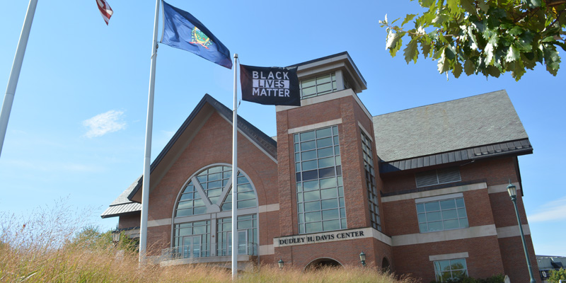 Black lives matter flag at the Davis Center