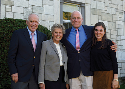 Burack family in front of new home for Hillel