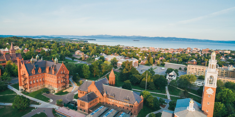 UVM campus aerial photo