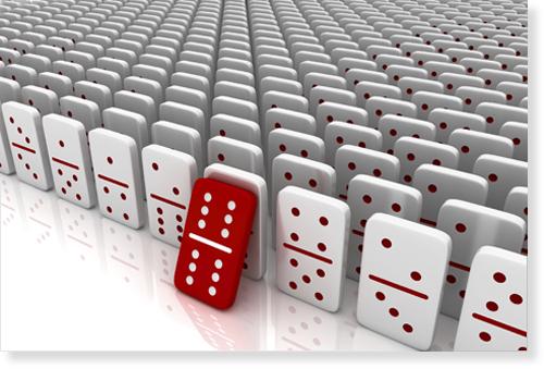 toppling dominoes