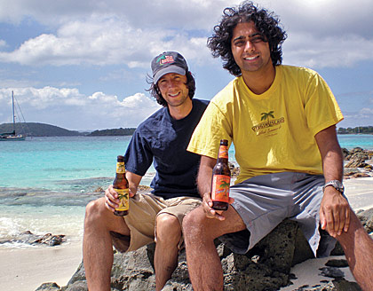 KEVIN CHIPMAN and Chirag 'Cheech' Vyas' on the beach with their brew