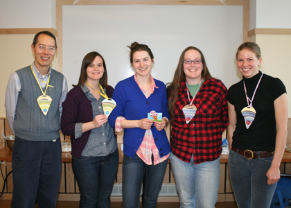 Com-PIE-tition winners (from left): Deane Wang, Ellen Rovelstad, Becca Pincus, Eliese Dykstra, and Monika Derrien