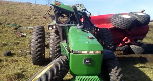Tractor damaged from accident