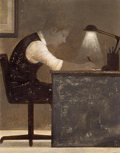 Writer disappearing at a desk