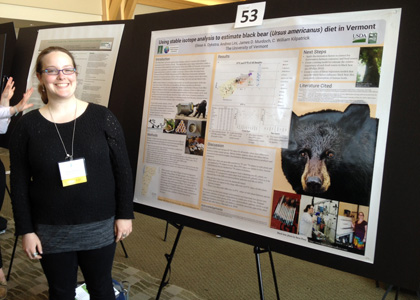 Eliese Dykstra, an RSENR graduate student, displays her research on Black Bear.