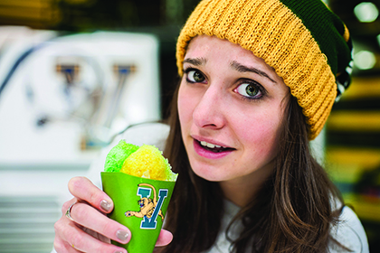 Student eating fake SnoCone ice