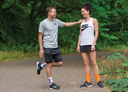Sara Kinnamon Fritsch  and Oliver Fritsch in running gear