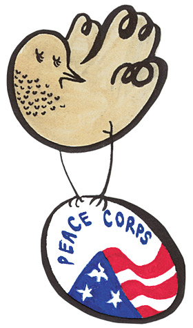 Peace corps symbol with Bicknell's thrush