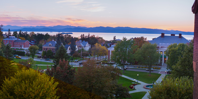 UVM campus looking west over Lake Champlain at sunset
