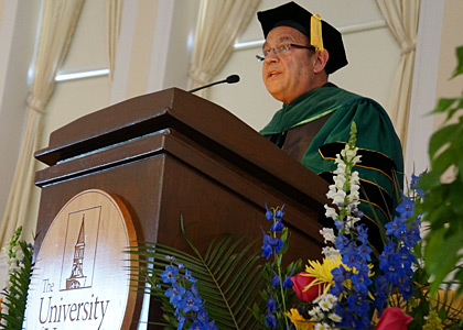 Vito Imbasciani, Ph.D., M.D. '85, delivers the Commencement Address at Ira Allen Chapel
