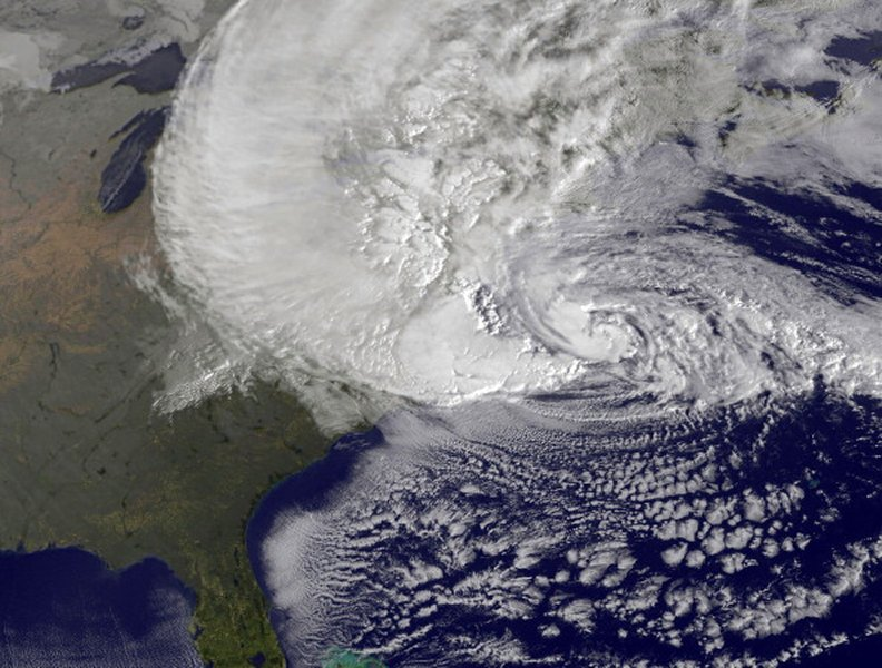 Satellite image of Hurricane Sandy.