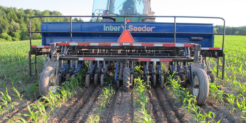 interseeder in field
