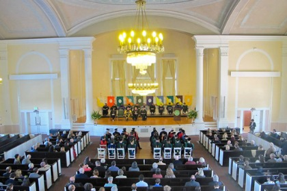 Fifty-one professors and chairs were honored at the investiture ceremony held in Ira Allen Chapel.