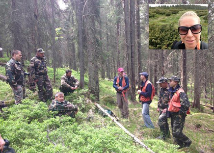 Prof. Bill Keeton (orange vest, left), assisted by UVM Fulbright Scholar Dmytro Karabchuk (orange vest, center) and RSENR graduate student Sarah Ford (inset) train Ukrainian forest rangers in forest mensuration and carbon estimation techniques in the lost valley of the Carpathian Mountains of Europe.