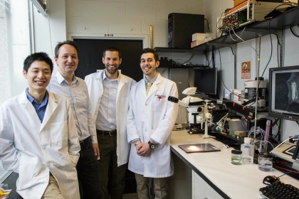(From Left) Michael Lam, M.D., '14,Peter Zvara, M.D., Ph.D., Assistant Professor of Surgery, Benjamin King, M.D.'12 and Travis Mann-Gow, a Technician in the Zvara Lab