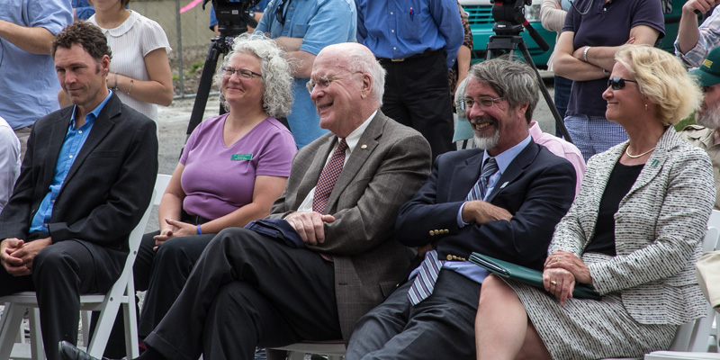 Post-doc researcher Leif Richardson; Deborah Neher, professor of plant and soil science; Sen. Patrick Leahy; Tom Vogelmann, dean of the College of Agriculture and Life Sciences; and Nancy Mathews, dean of the Rubenstein School of Environment and Natural Resources.