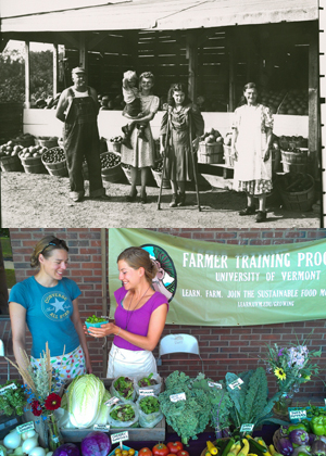 two pictures of farmstands, then and now