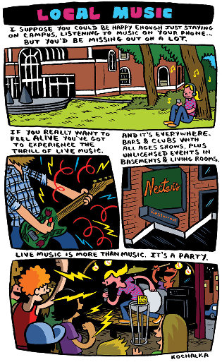 graphic comic strip showing a girl on campus listening on headpones, a close-up of a guitarist playing, the Nectars club sign, and a band playing at Radio Bean
