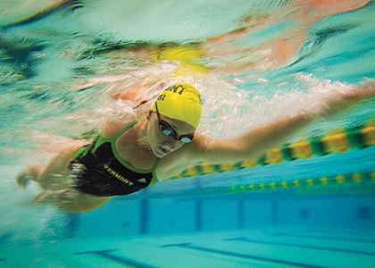 Swimmer Sarah Mantz seen from below underwater