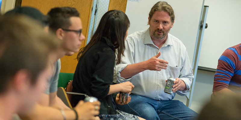 Professor Erik Monsen with entrepreneurship club students