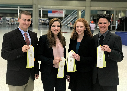 Four Vermont teens had an opportunity to compete at the National Youth Dairy Judging Contest, Nov. 5, in Louisville, Kentucky. From left: Joseph Real, Georgia; Maddie Nadeau, Derby; Isabel Hall, East Montpelier; and Seth Carson, Newbury. (photo: courtesy of UVM Extension 4-H)