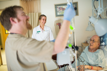 Johanna Kelley '17 shadows nurses on their rounds and interacts with patients at The University of Vermont Medical Center as a part of her Professionalism, Communication, and Reflection course.