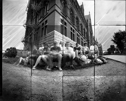Time lapse photograph of entire photography class in front of Williams Hall