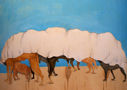 painting of a row of dogs hiding under a long white sheet