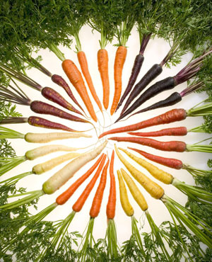 Carrots with pigments that reflect the colors of the rainbow.