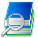 icon of magnifying glass and books